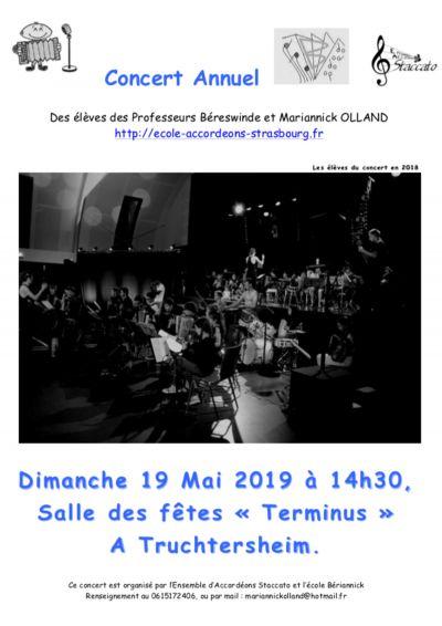 Concert annuel des élèves le dimanche 19/05/19 à 14h30 à la salle terminus de Truchtersheim